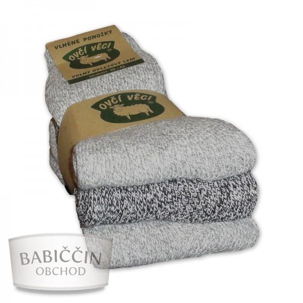 Výrobky z ovčí vlny - Ponožky vlněné 3 ks