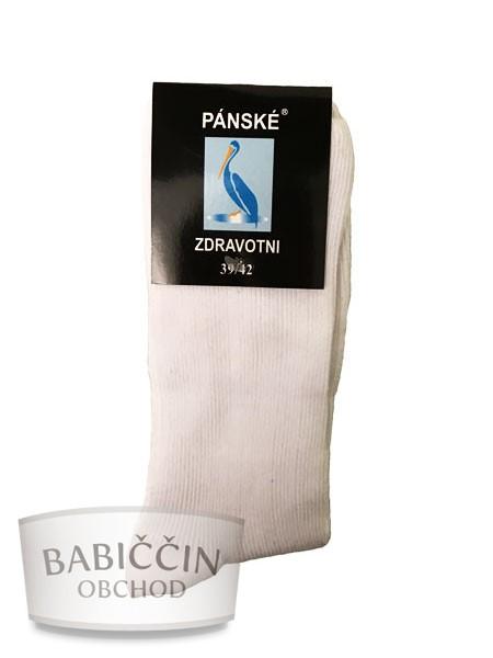 Výrobky z ovčí vlny - Zdravotní ponožky pánské bílé