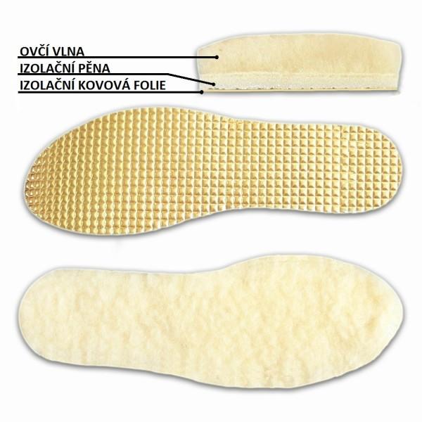 Výrobky z ovčí vlny - Vložky do bot vlněné s izolační fólií