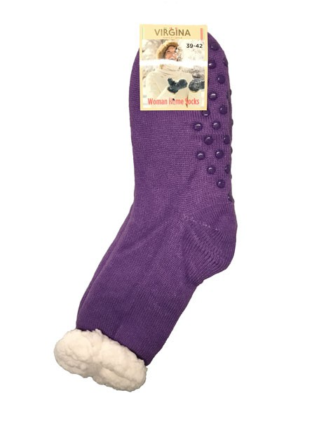 Výrobky z ovčí vlny - Spací ponožky jednobarevné fialové
