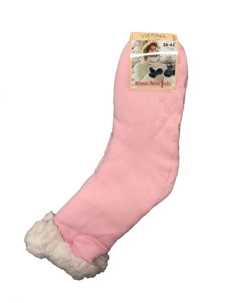 cfb02442232 Spací ponožky s kožíškem jednobarevné růžové - Babiččin obchod