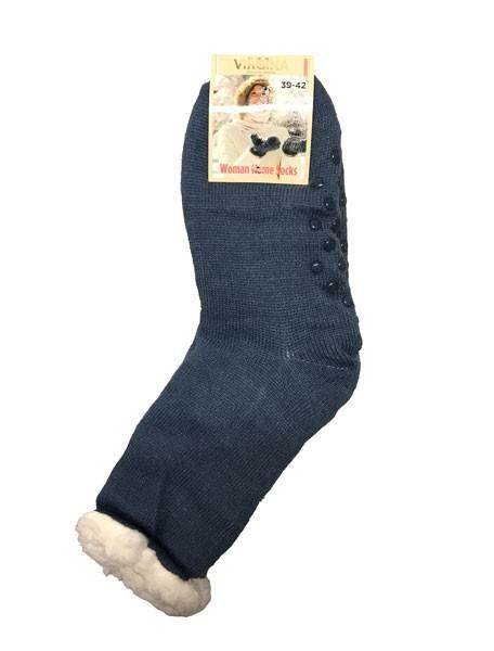 a3a897d4d3b Spací ponožky s kožíškem jednobarevné tmavě modré - Babiččin obchod