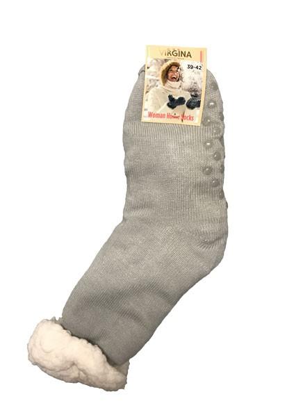 Výrobky z ovčí vlny - Spací ponožky jednobarevné šedé