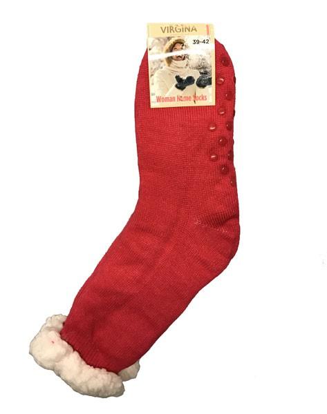 Výrobky z ovčí vlny - Spací ponožky jednobarevné tmavě růžové