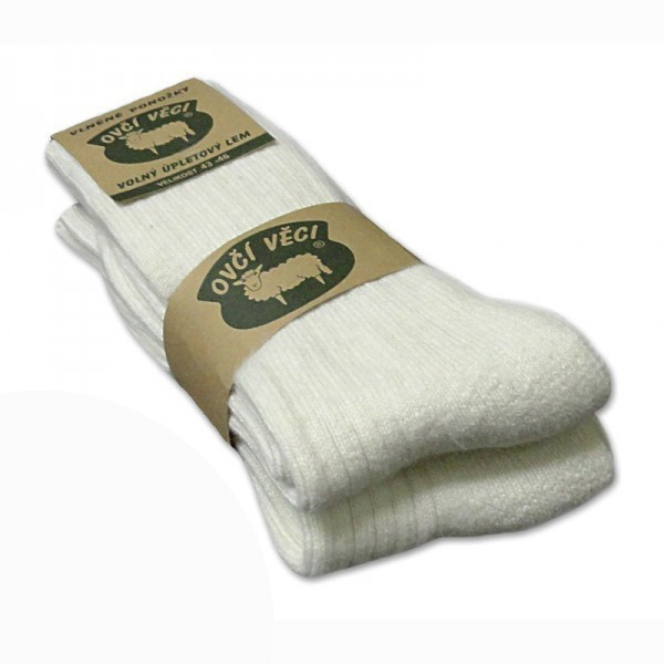 Výrobky z ovčí vlny - Ponožky z ovčí vlny bílé