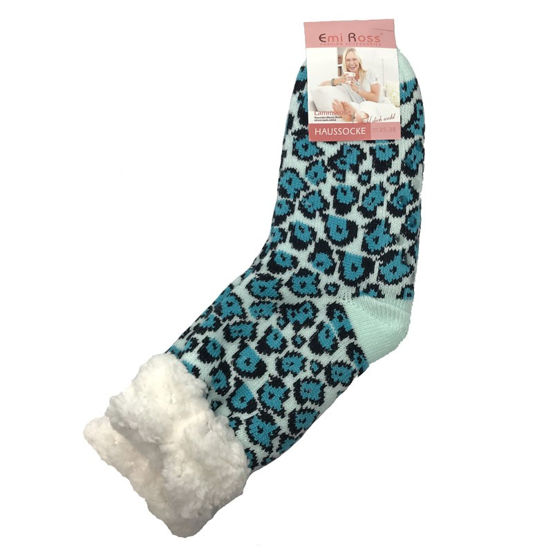 Výrobky z ovčí vlny - Spací ponožky tyrkysový leopard