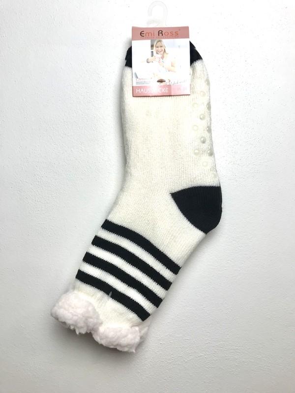 Výrobky z ovčí vlny - Spací ponožky bílé pruhované